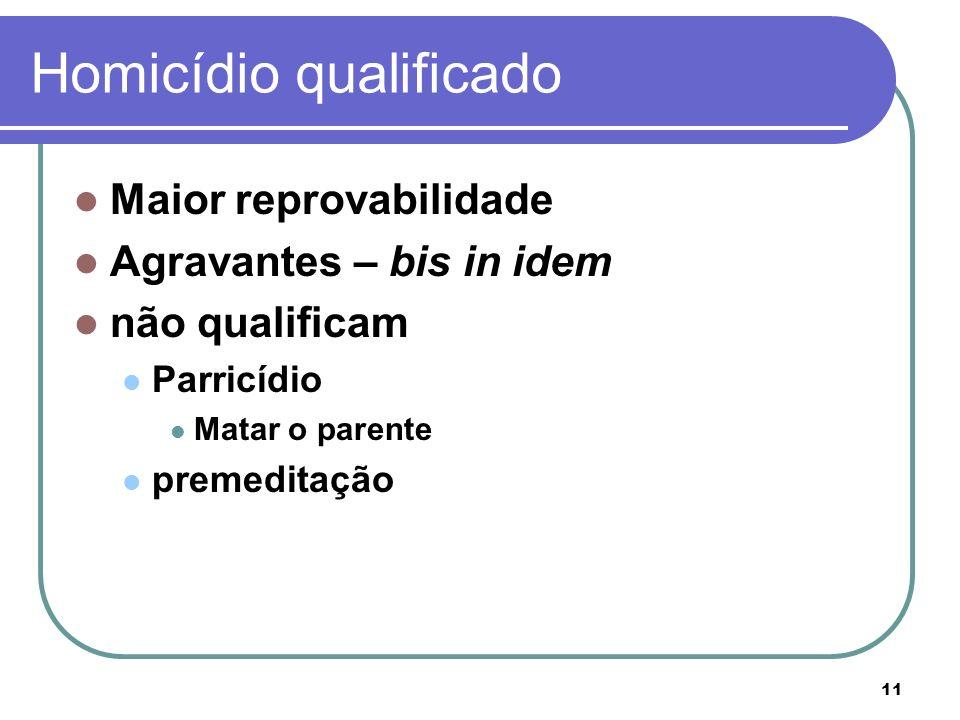 11 Homicídio qualificado Maior reprovabilidade Agravantes – bis in idem não qualificam Parricídio Matar o parente premeditação