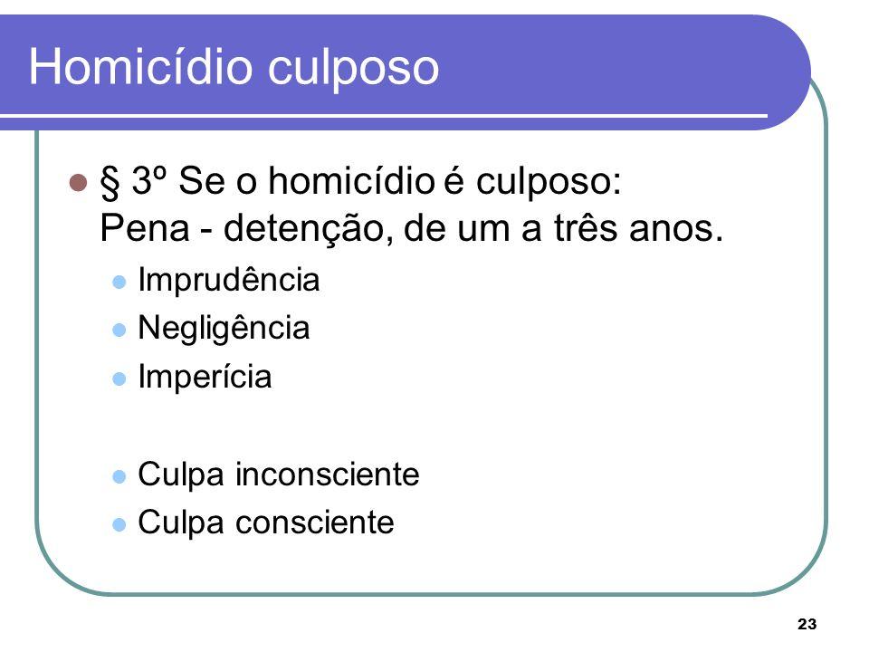 23 Homicídio culposo § 3º Se o homicídio é culposo: Pena - detenção, de um a três anos. Imprudência Negligência Imperícia Culpa inconsciente Culpa con