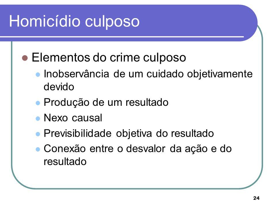 24 Homicídio culposo Elementos do crime culposo Inobservância de um cuidado objetivamente devido Produção de um resultado Nexo causal Previsibilidade