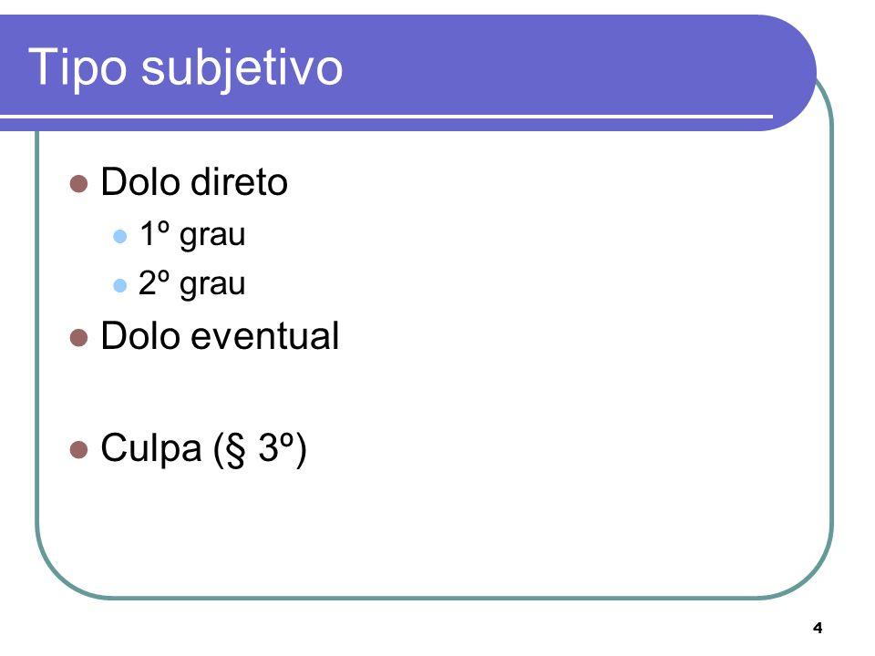 4 Tipo subjetivo Dolo direto 1º grau 2º grau Dolo eventual Culpa (§ 3º)