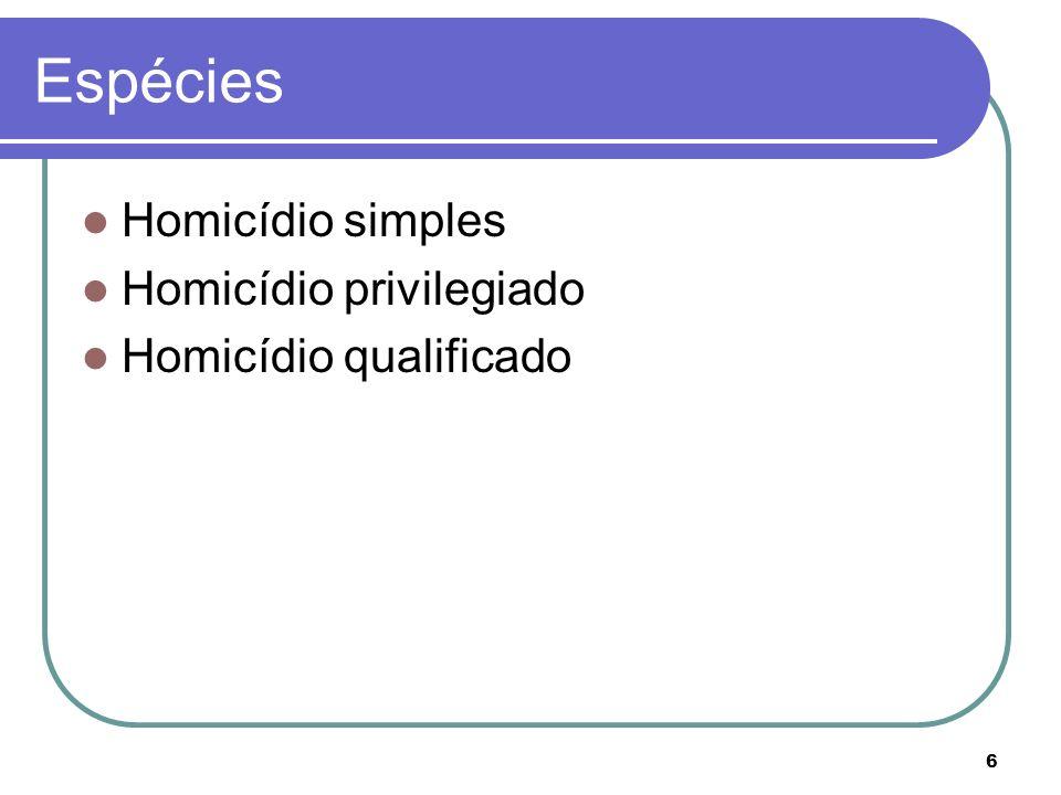 6 Espécies Homicídio simples Homicídio privilegiado Homicídio qualificado