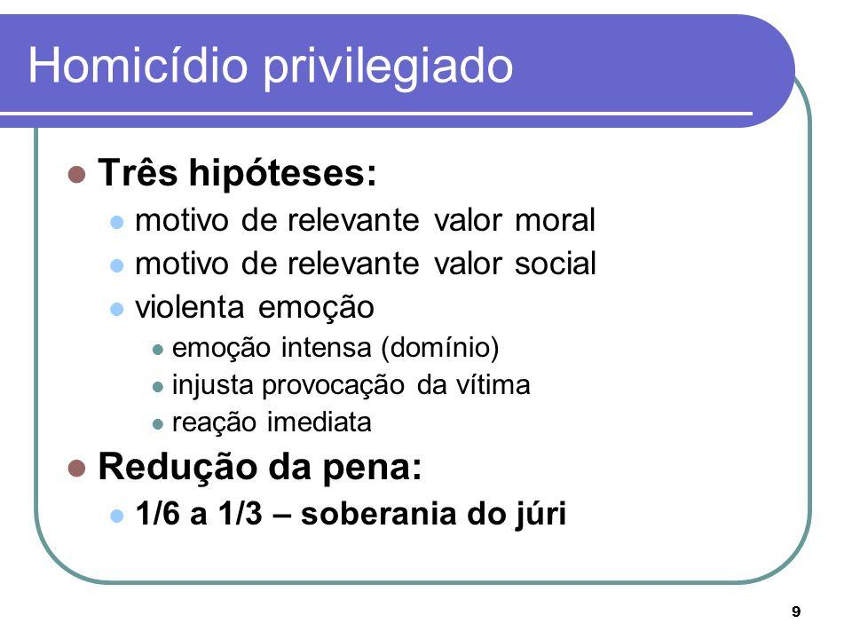 9 Homicídio privilegiado Três hipóteses: motivo de relevante valor moral motivo de relevante valor social violenta emoção emoção intensa (domínio) inj