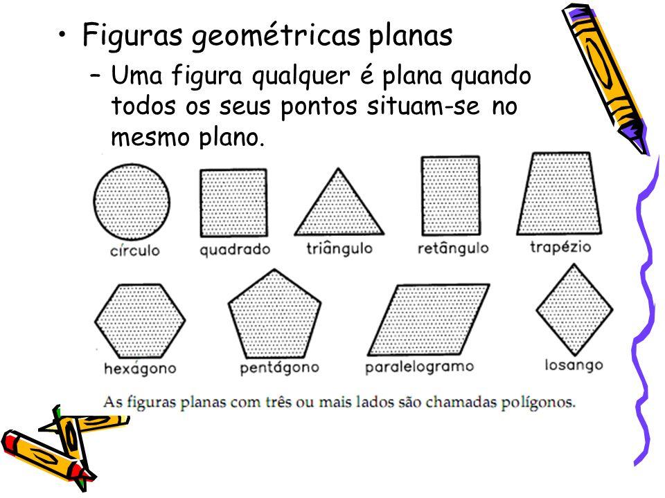 Figuras geométricas planas –Uma figura qualquer é plana quando todos os seus pontos situam-se no mesmo plano.