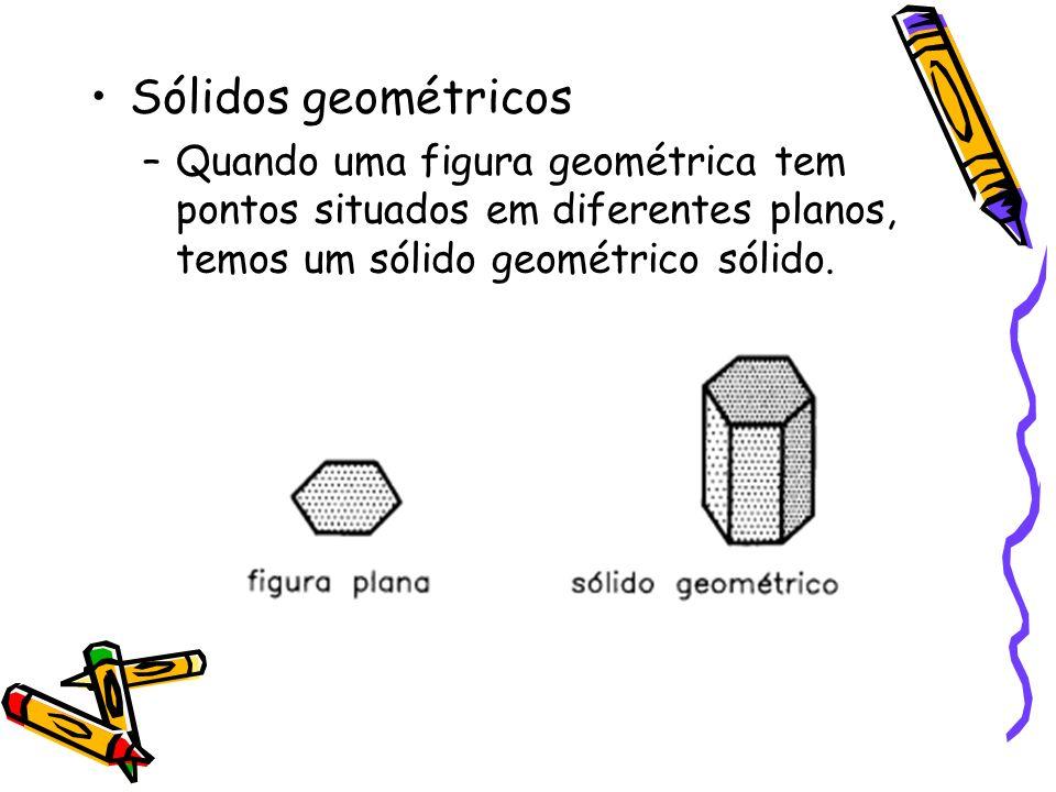 Sólidos geométricos –Quando uma figura geométrica tem pontos situados em diferentes planos, temos um sólido geométrico sólido.