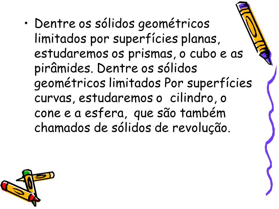 Dentre os sólidos geométricos limitados por superfícies planas, estudaremos os prismas, o cubo e as pirâmides. Dentre os sólidos geométricos limitados