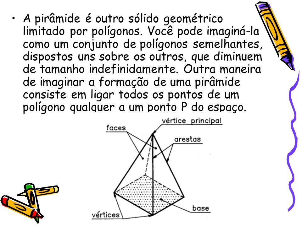 A pirâmide é outro sólido geométrico limitado por polígonos. Você pode imaginá-la como um conjunto de polígonos semelhantes, dispostos uns sobre os ou