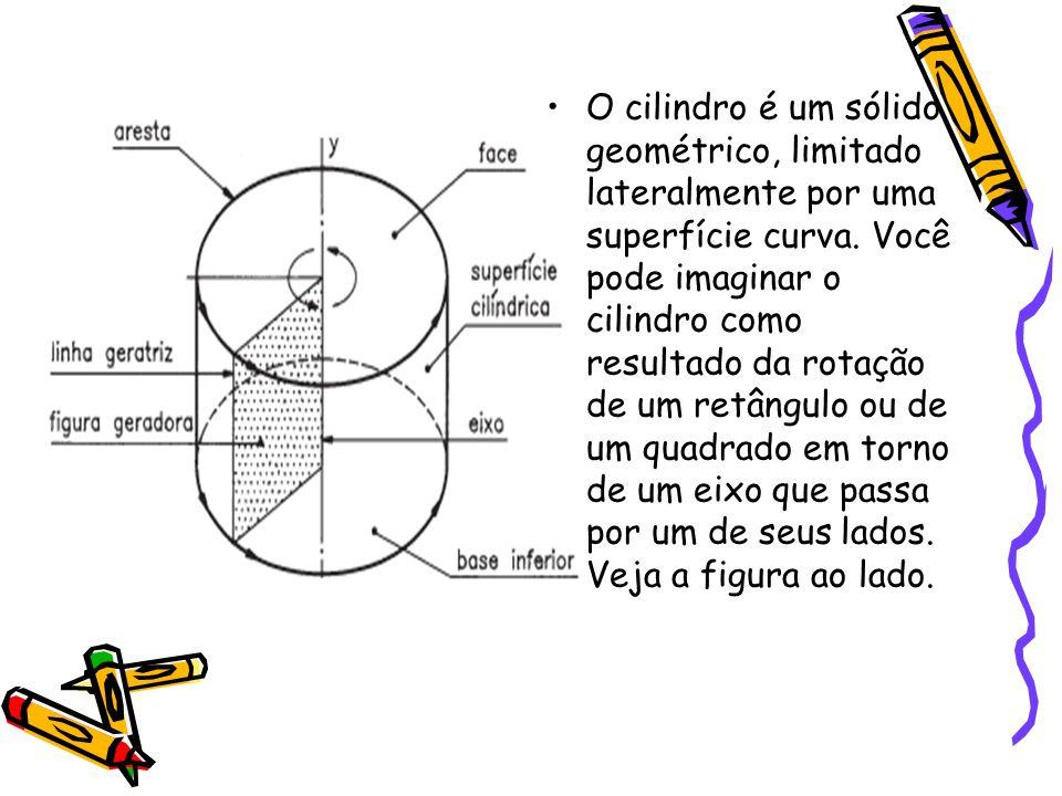 O cilindro é um sólido geométrico, limitado lateralmente por uma superfície curva. Você pode imaginar o cilindro como resultado da rotação de um retân