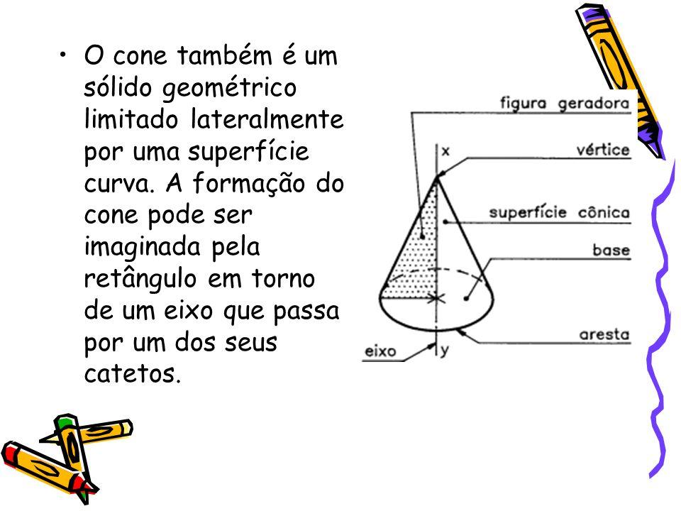 O cone também é um sólido geométrico limitado lateralmente por uma superfície curva. A formação do cone pode ser imaginada pela retângulo em torno de