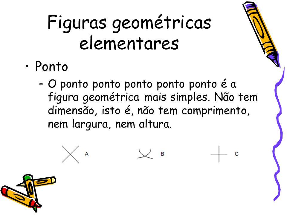 Ponto –O ponto ponto ponto ponto ponto é a figura geométrica mais simples. Não tem dimensão, isto é, não tem comprimento, nem largura, nem altura. Fig