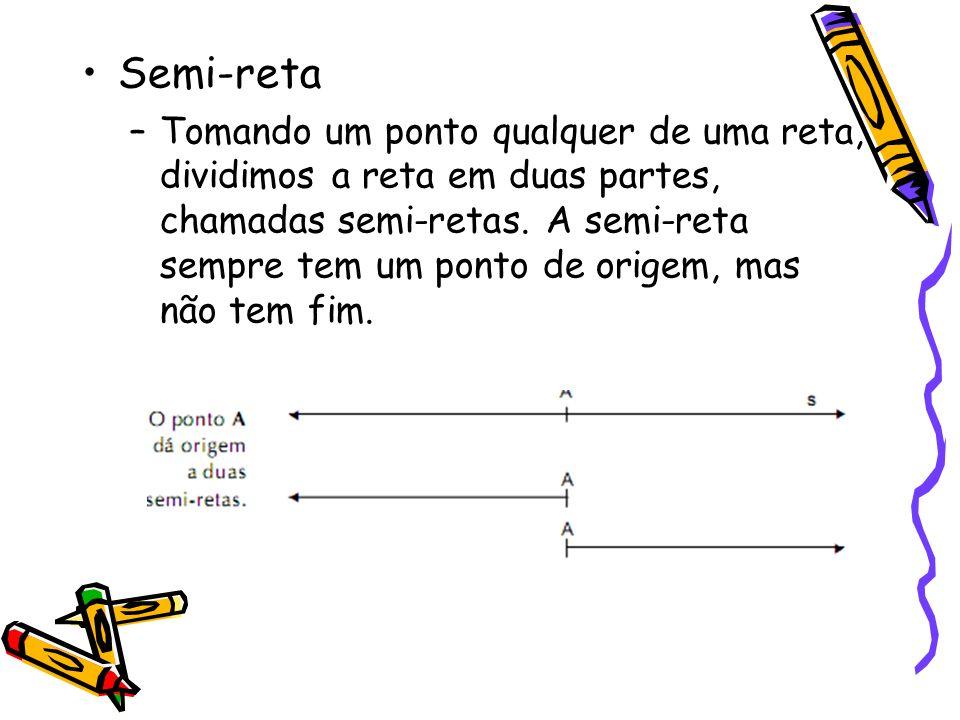 Semi-reta –Tomando um ponto qualquer de uma reta, dividimos a reta em duas partes, chamadas semi-retas. A semi-reta sempre tem um ponto de origem, mas