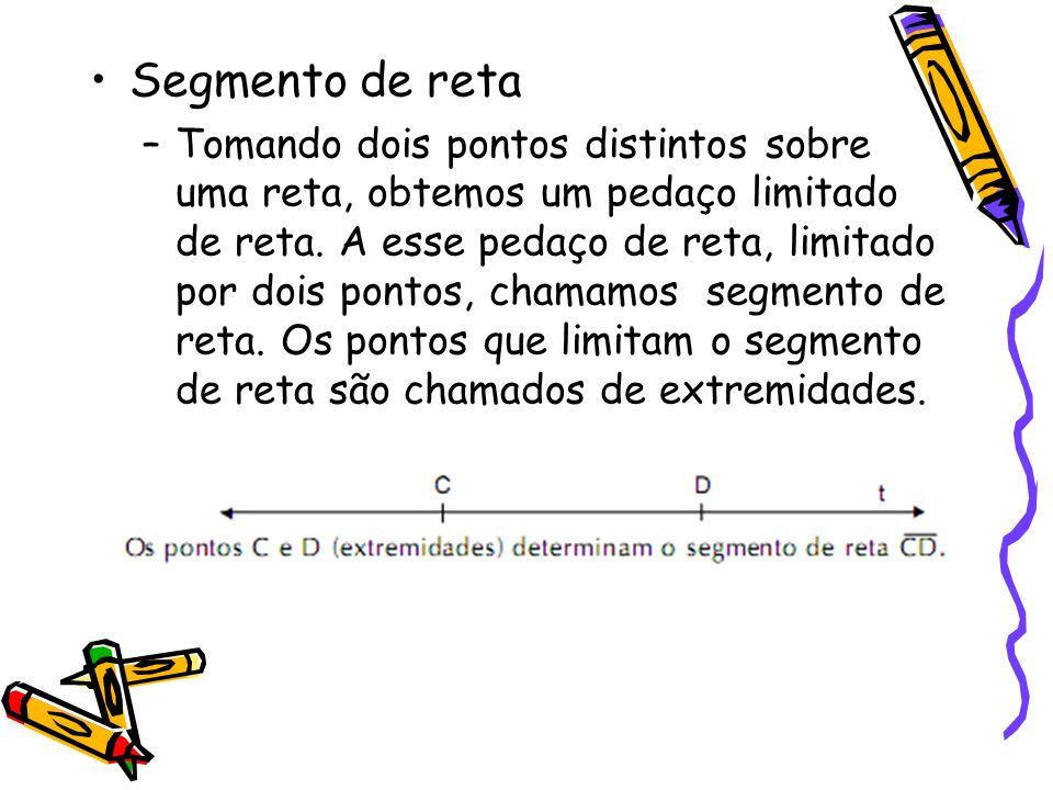 Segmento de reta –Tomando dois pontos distintos sobre uma reta, obtemos um pedaço limitado de reta. A esse pedaço de reta, limitado por dois pontos, c