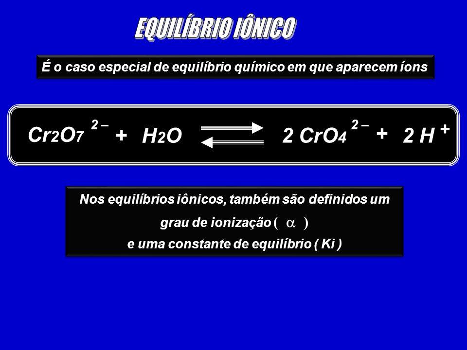 É o caso especial de equilíbrio químico em que aparecem íons Cr 2 O 7 2 H 2 – + H2OH2O 2 CrO 4 2 – + + Nos equilíbrios iônicos, também são definidos u