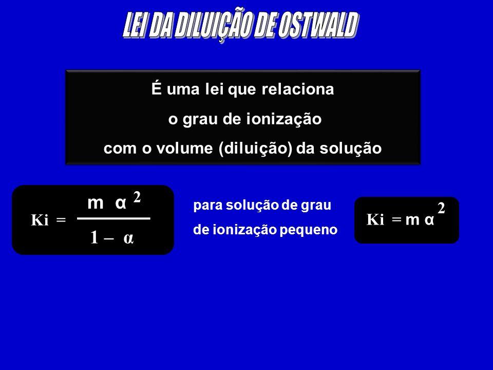 É uma lei que relaciona o grau de ionização com o volume (diluição) da solução É uma lei que relaciona o grau de ionização com o volume (diluição) da