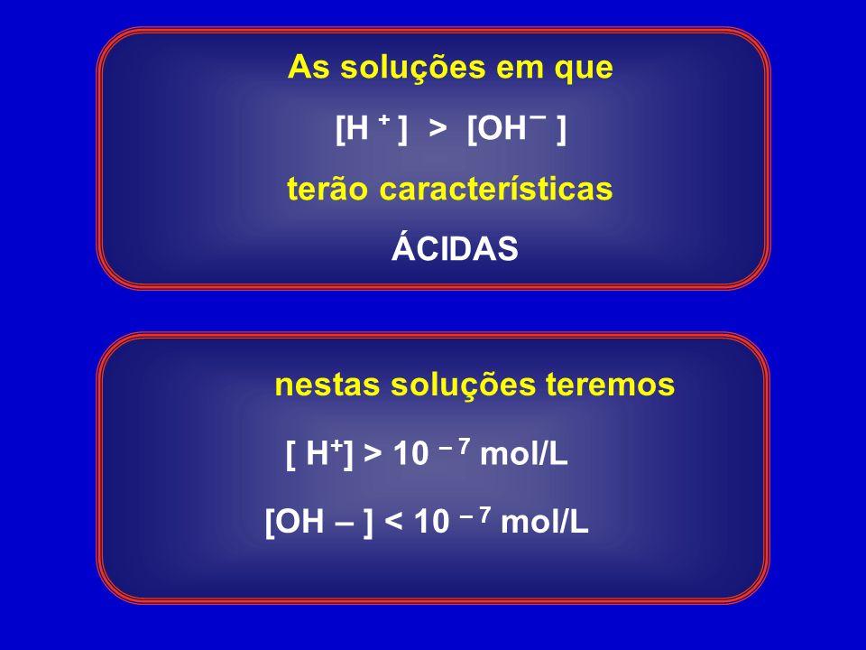 As soluções em que [H ] > [OH ] terão características ÁCIDAS + – [ H + ] > 10 – 7 mol/L [OH – ] < 10 – 7 mol/L nestas soluções teremos