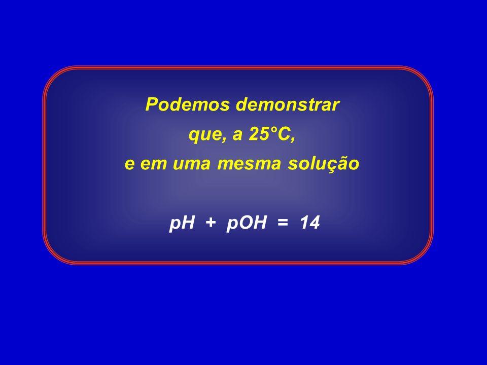 Podemos demonstrar que, a 25°C, e em uma mesma solução pH + pOH = 14