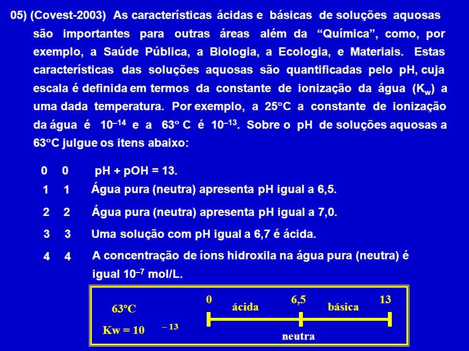 05) (Covest-2003) As características ácidas e básicas de soluções aquosas são importantes para outras áreas além da Química, como, por exemplo, a Saúd