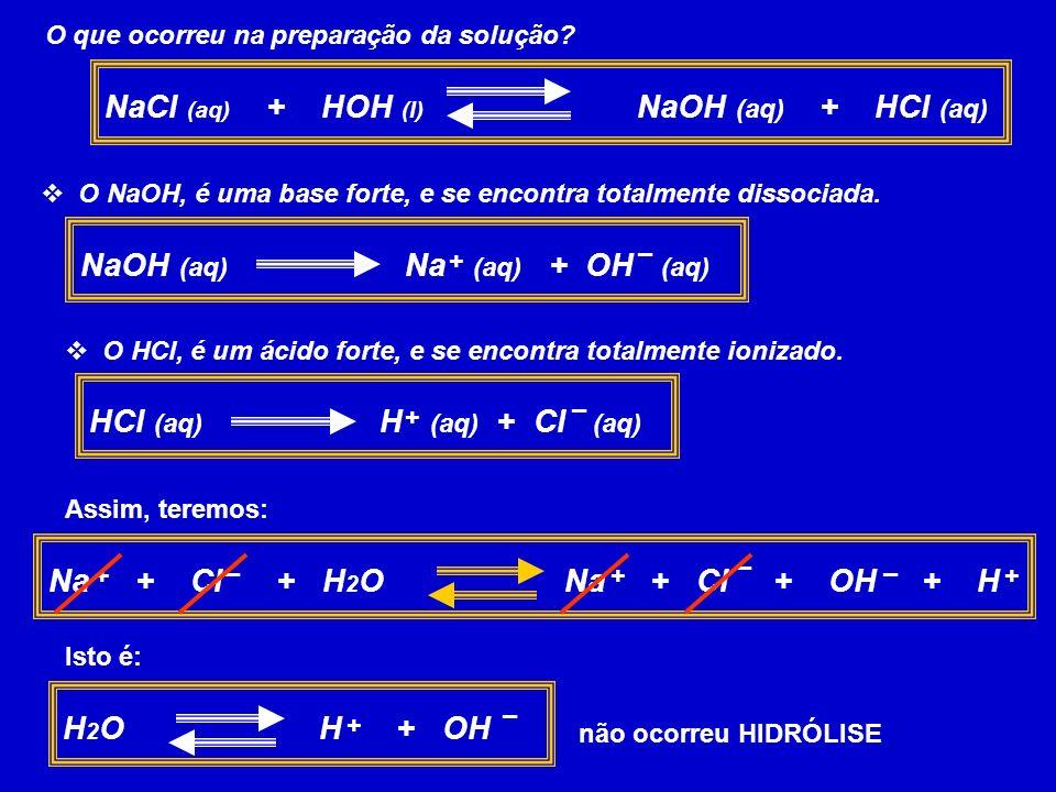 O que ocorreu na preparação da solução? NaCl (aq) + HOH (l) NaOH (aq) + HCl (aq) O NaOH, é uma base forte, e se encontra totalmente dissociada. NaOH (