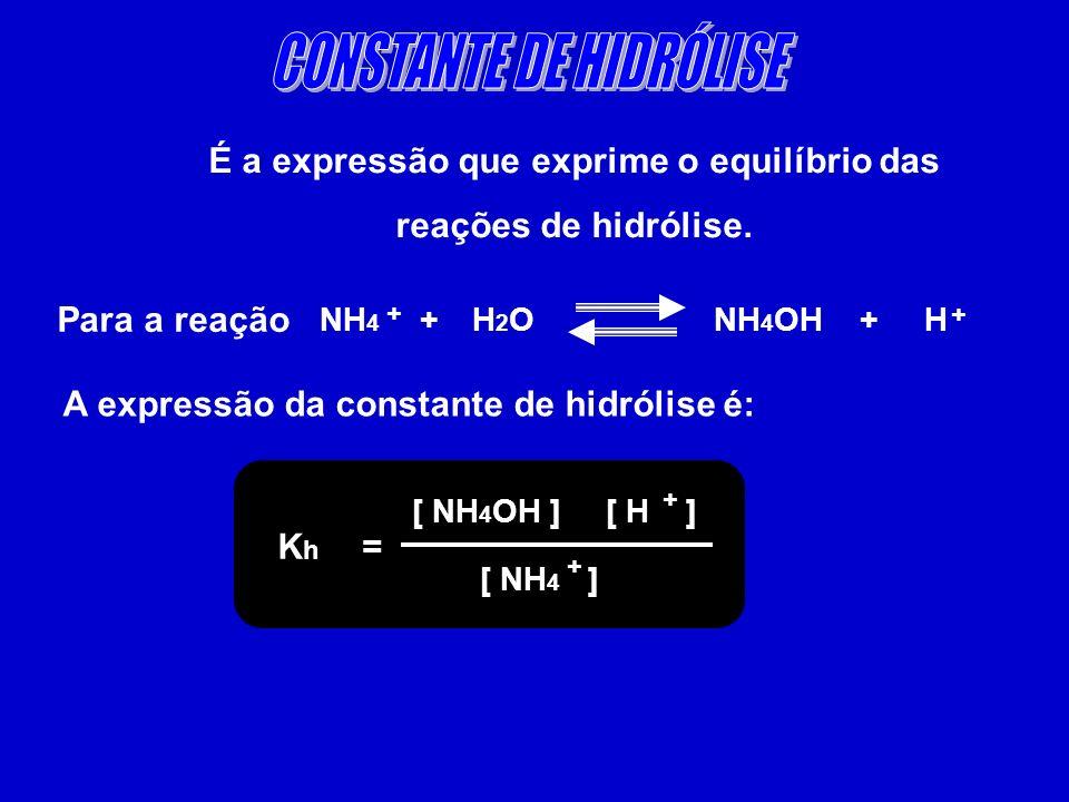 É a expressão que exprime o equilíbrio das reações de hidrólise. Para a reação NH 4 + H 2 O NH 4 OH + H + + A expressão da constante de hidrólise é: K