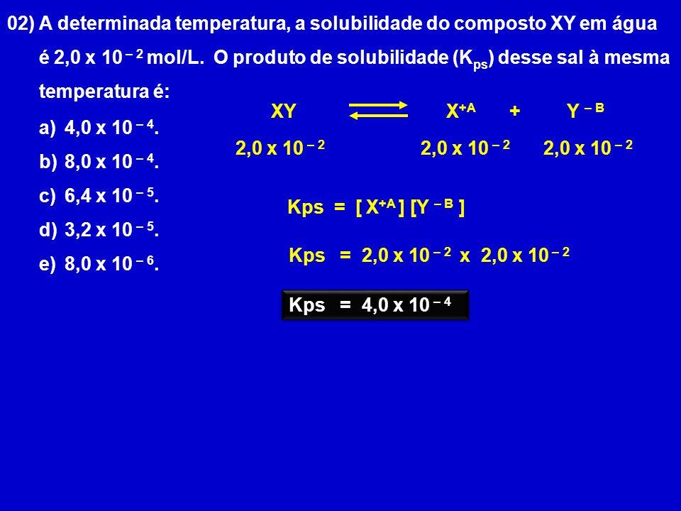 02) A determinada temperatura, a solubilidade do composto XY em água é 2,0 x 10 – 2 mol/L. O produto de solubilidade (K ps ) desse sal à mesma tempera