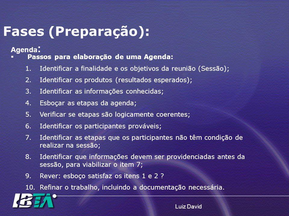 Luiz David Agenda : Passos para elaboração de uma Agenda: 1.Identificar a finalidade e os objetivos da reunião (Sessão); 2.Identificar os produtos (re