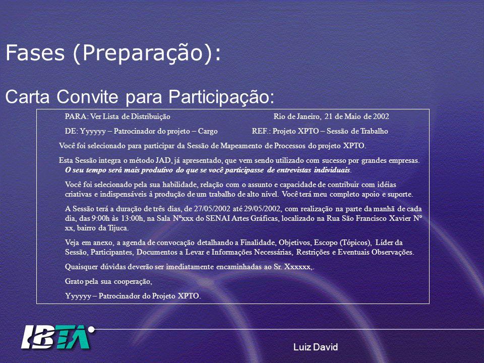 Luiz David Carta Convite para Participação: PARA: Ver Lista de Distribuição Rio de Janeiro, 21 de Maio de 2002 DE: Yyyyyy – Patrocinador do projeto –