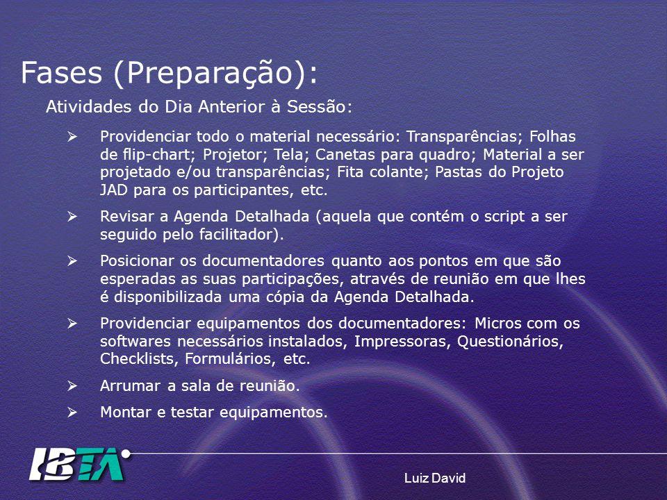 Luiz David Atividades do Dia Anterior à Sessão: Providenciar todo o material necessário: Transparências; Folhas de flip-chart; Projetor; Tela; Canetas