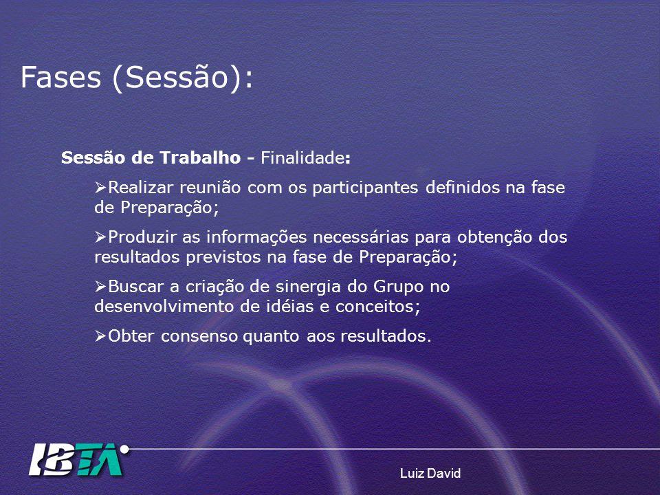 Luiz David Fases (Sessão): Sessão de Trabalho - Finalidade: Realizar reunião com os participantes definidos na fase de Preparação; Produzir as informa