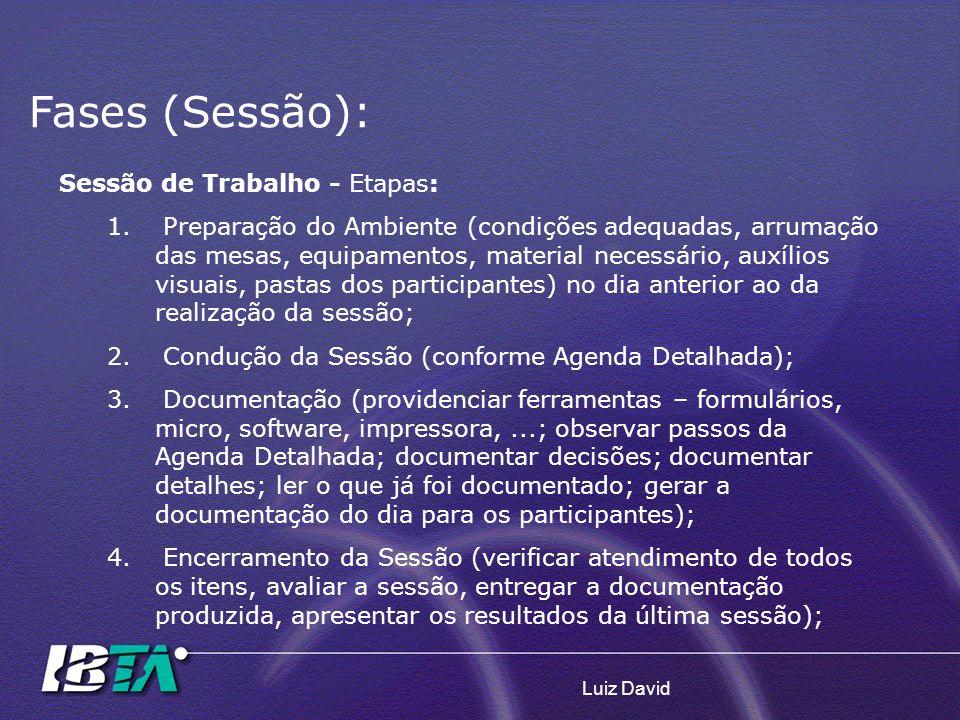 Luiz David Fases (Sessão): Sessão de Trabalho - Etapas: 1. Preparação do Ambiente (condições adequadas, arrumação das mesas, equipamentos, material ne