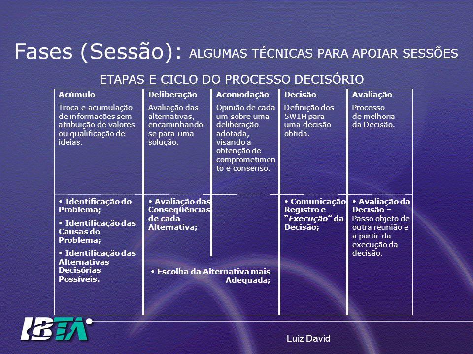 Luiz David Fases (Sessão): ALGUMAS TÉCNICAS PARA APOIAR SESSÕES ETAPAS E CICLO DO PROCESSO DECISÓRIO Acúmulo Troca e acumulação de informações sem atr