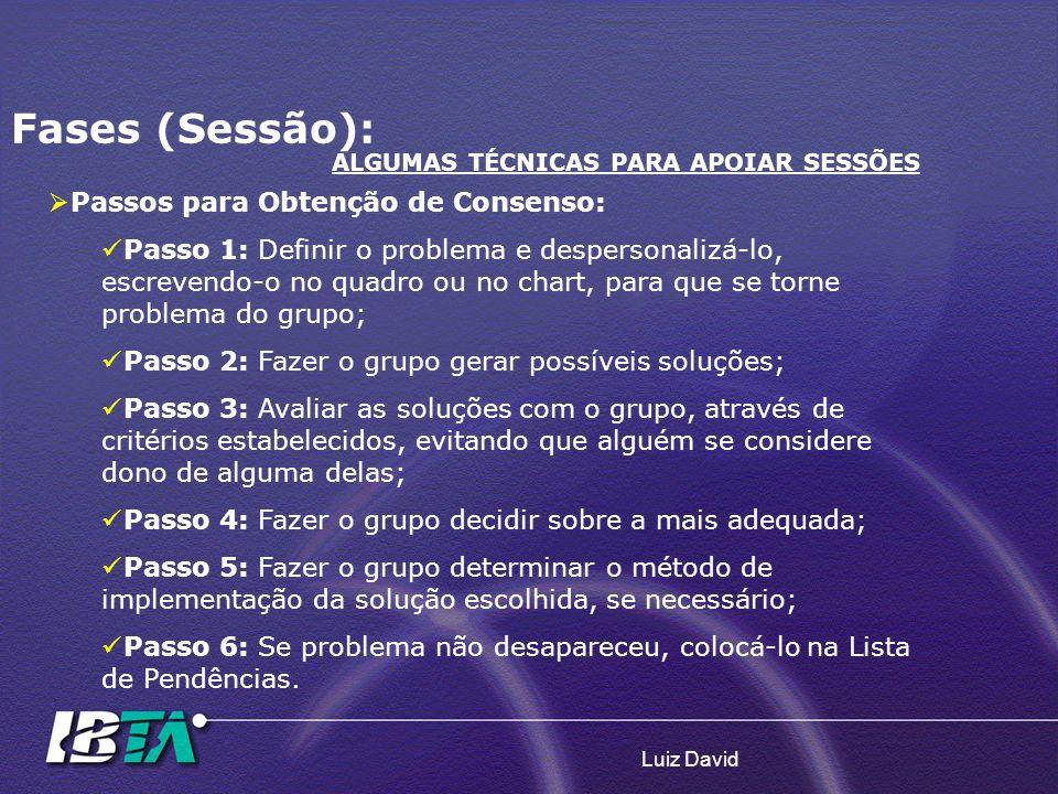 Luiz David Fases (Sessão): ALGUMAS TÉCNICAS PARA APOIAR SESSÕES Passos para Obtenção de Consenso: Passo 1: Definir o problema e despersonalizá-lo, esc