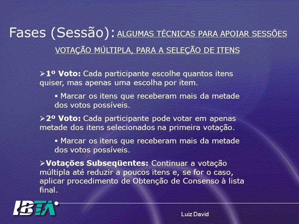 Luiz David 1º Voto: Cada participante escolhe quantos itens quiser, mas apenas uma escolha por item. Marcar os itens que receberam mais da metade dos