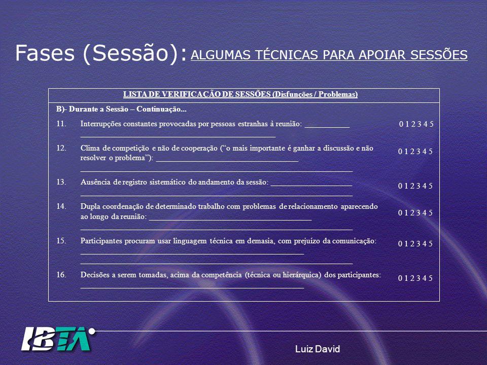Luiz David LISTA DE VERIFICAÇÃO DE SESSÕES (Disfunções / Problemas) B)- Durante a Sessão – Continuação... 11.Interrupções constantes provocadas por pe
