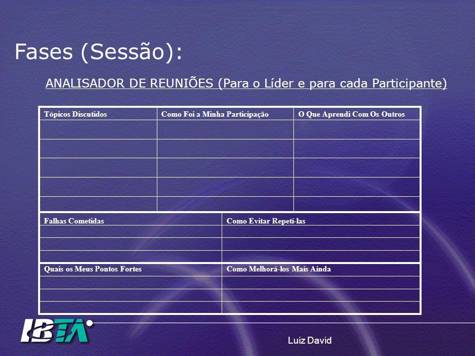 Luiz David ANALISADOR DE REUNIÕES (Para o Líder e para cada Participante) Tópicos DiscutidosComo Foi a Minha ParticipaçãoO Que Aprendi Com Os OutrosFa