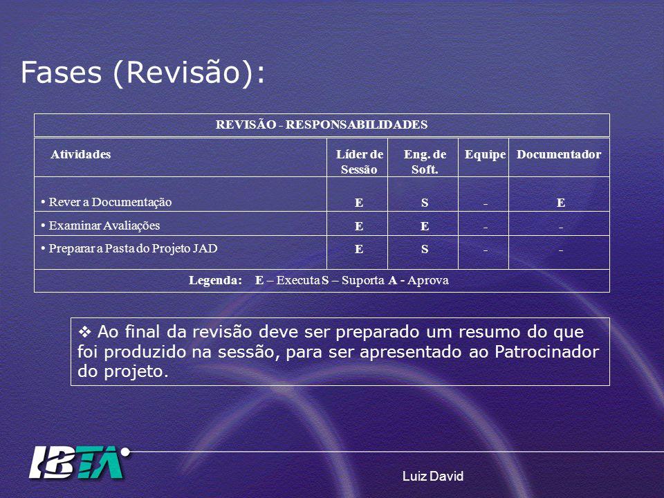 Luiz David REVISÃO - RESPONSABILIDADES AtividadesLíder de Sessão Eng. de Soft. EquipeDocumentador Rever a Documentação Examinar Avaliações Preparar a