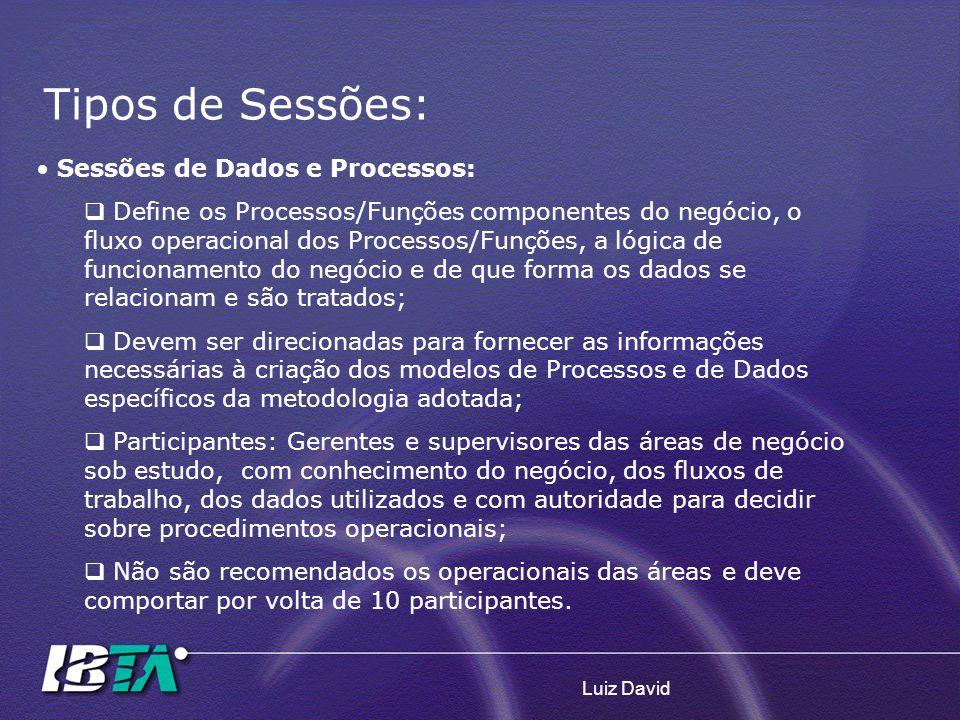 Luiz David Sessões de Dados e Processos: Define os Processos/Funções componentes do negócio, o fluxo operacional dos Processos/Funções, a lógica de fu
