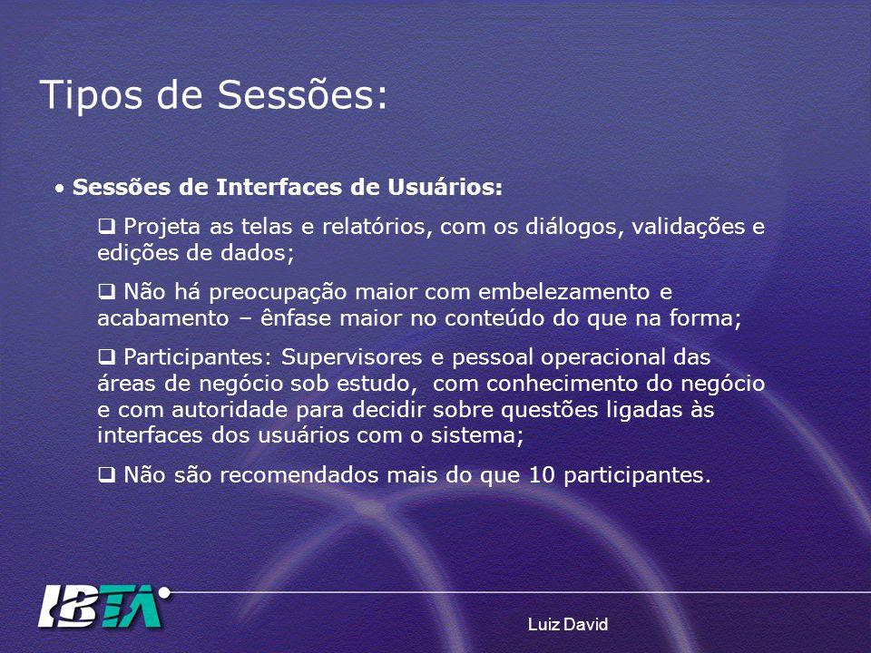 Luiz David Sessões de Interfaces de Usuários: Projeta as telas e relatórios, com os diálogos, validações e edições de dados; Não há preocupação maior