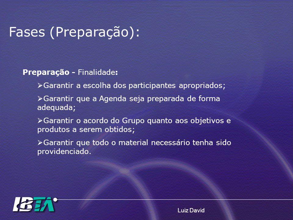 Luiz David Fases (Preparação): Preparação - Finalidade: Garantir a escolha dos participantes apropriados; Garantir que a Agenda seja preparada de form