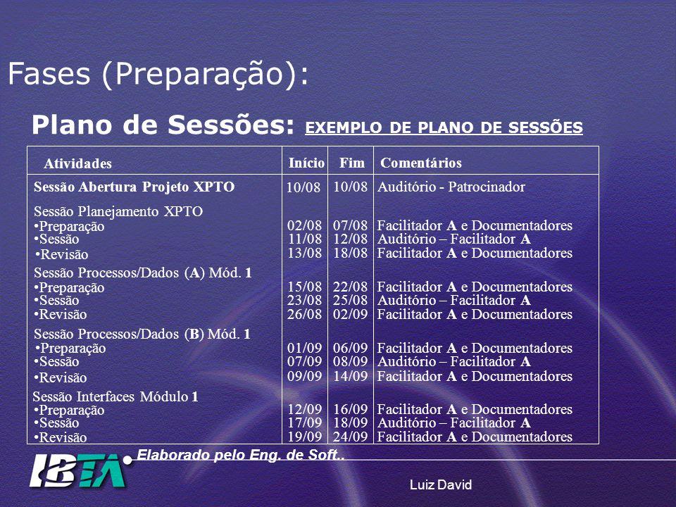 Luiz David Plano de Sessões: EXEMPLO DE PLANO DE SESSÕES Fases (Preparação): Atividades InícioFimComentários 10/08 Sessão Abertura Projeto XPTO10/08Au