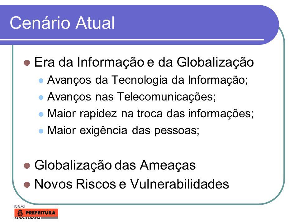 Cenário Atual Era da Informação e da Globalização Avanços da Tecnologia da Informação; Avanços nas Telecomunicações; Maior rapidez na troca das inform