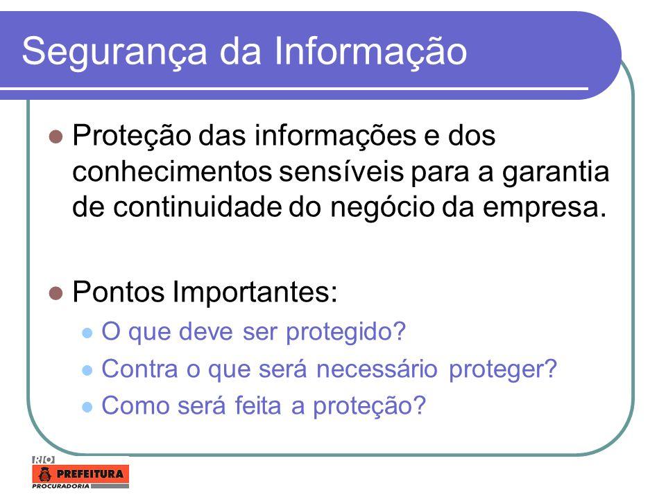Segurança da Informação Proteção das informações e dos conhecimentos sensíveis para a garantia de continuidade do negócio da empresa. Pontos Important