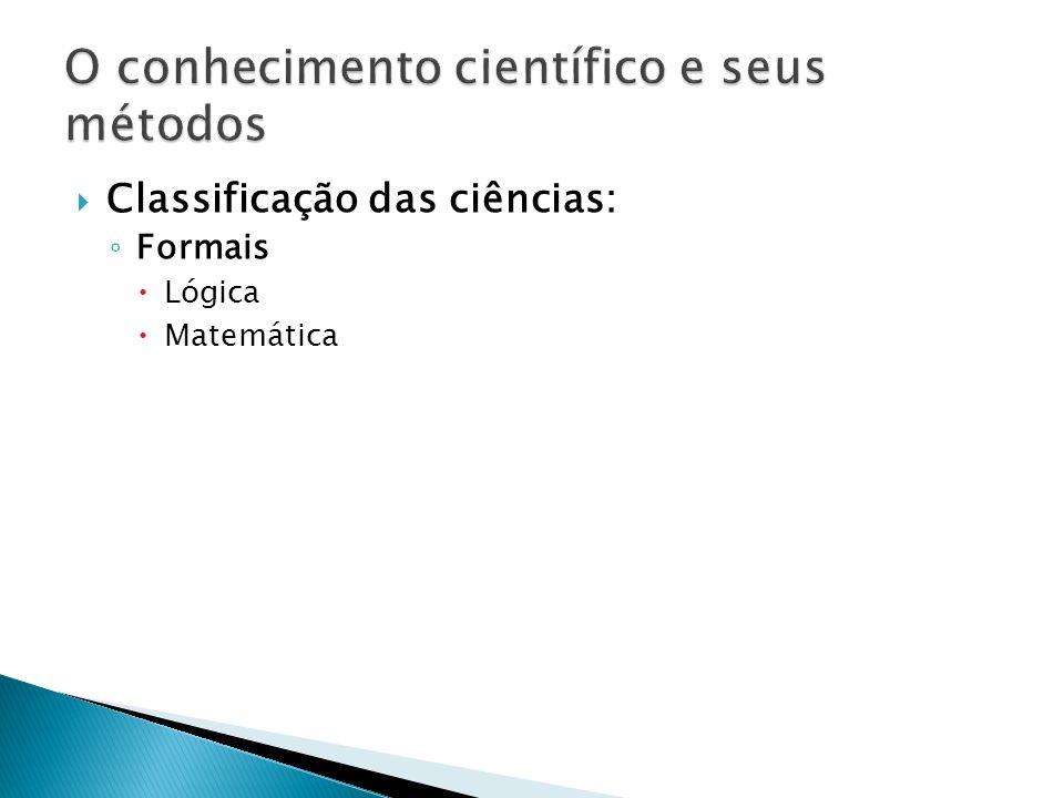 Classificação das ciências: Formais Lógica Matemática (MARCONI, LAKATOS, 2007)
