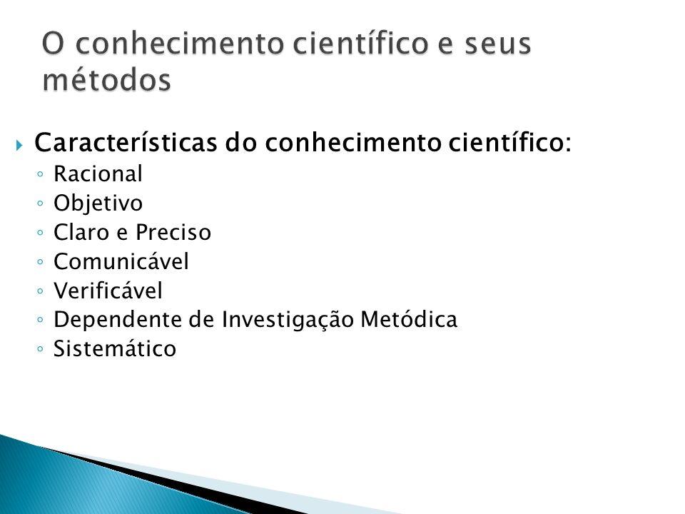 Características do conhecimento científico: Racional Objetivo Claro e Preciso Comunicável Verificável Dependente de Investigação Metódica Sistemático