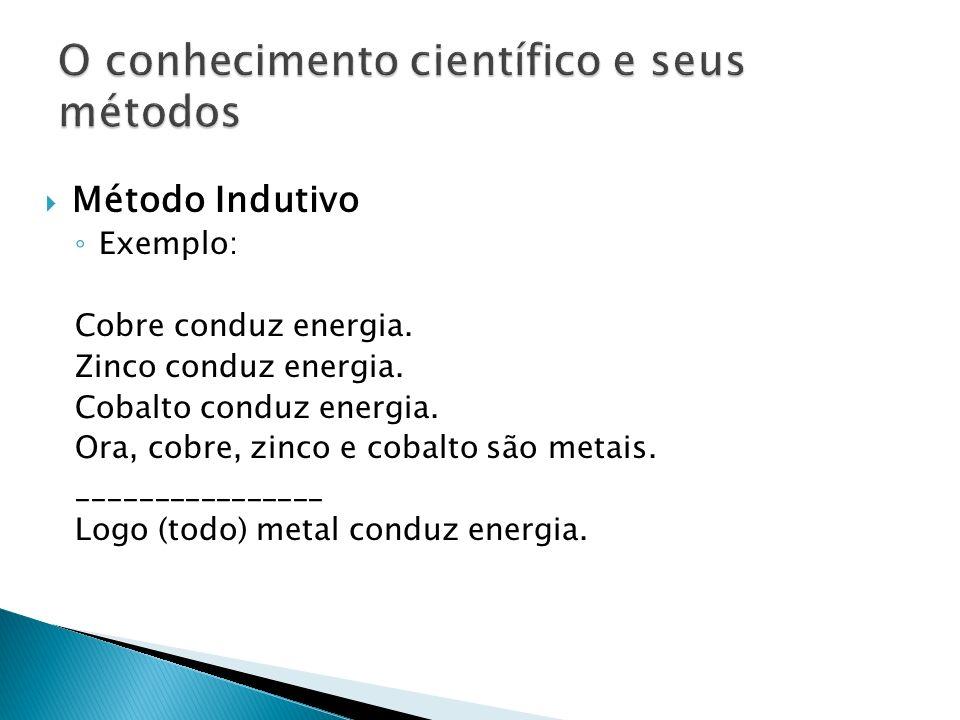 Método Indutivo Exemplo: Cobre conduz energia. Zinco conduz energia. Cobalto conduz energia. Ora, cobre, zinco e cobalto são metais. ________________