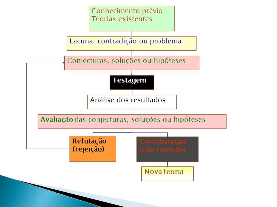 Conhecimento prévio Teorias existentes Lacuna, contradição ou problema Conjecturas, soluções ou hipóteses Testagem Análise dos resultados Avaliação da