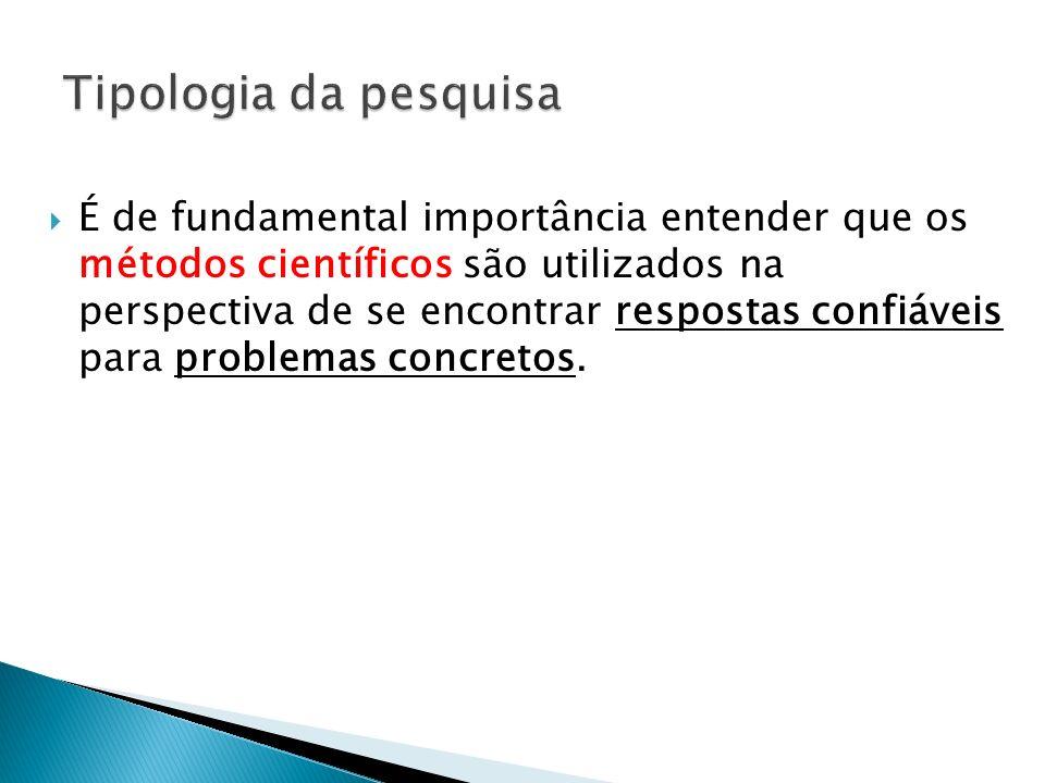 É de fundamental importância entender que os métodos científicos são utilizados na perspectiva de se encontrar respostas confiáveis para problemas con