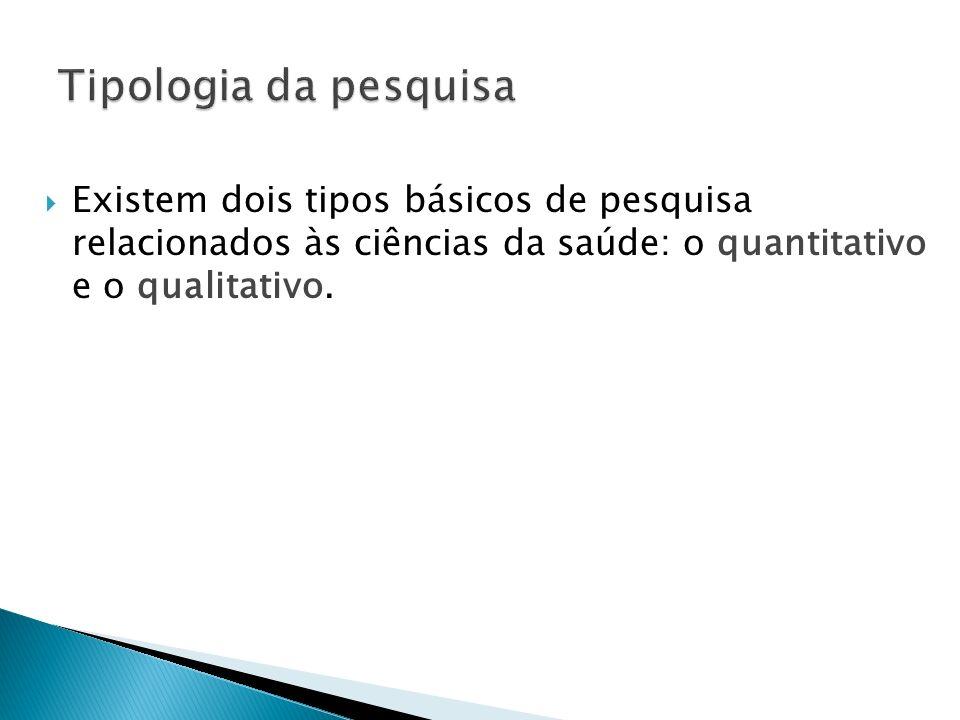 Existem dois tipos básicos de pesquisa relacionados às ciências da saúde: o quantitativo e o qualitativo.