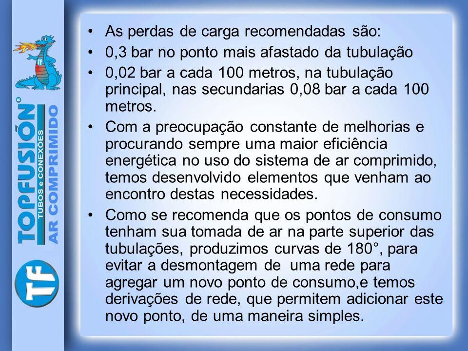 As perdas de carga recomendadas são: 0,3 bar no ponto mais afastado da tubulação 0,02 bar a cada 100 metros, na tubulação principal, nas secundarias 0