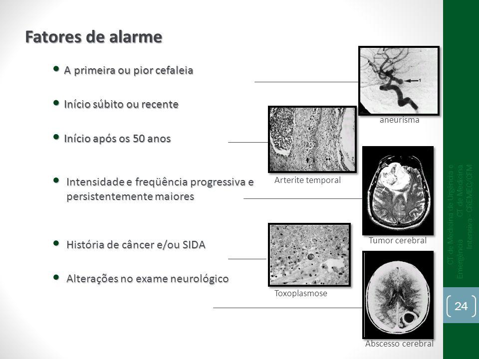 A primeira ou pior cefaleia A primeira ou pior cefaleia Início súbito ou recente Início súbito ou recente Início após os 50 anos Início após os 50 ano