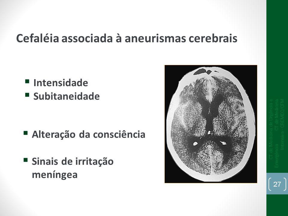 Intensidade Subitaneidade Alteração da consciência Sinais de irritação meníngea Cefaléia associada à aneurismas cerebrais CT de Medicina de Urgência e