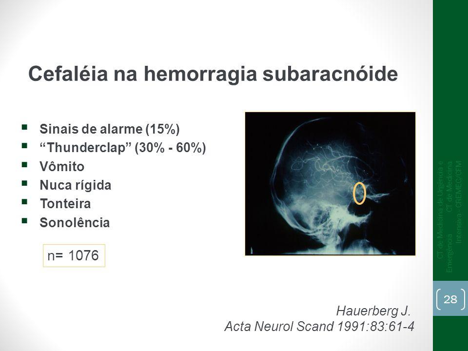 Cefaléia na hemorragia subaracnóide Hauerberg J. Acta Neurol Scand 1991:83:61-4 Sinais de alarme (15%) Thunderclap (30% - 60%) Vômito Nuca rígida Tont